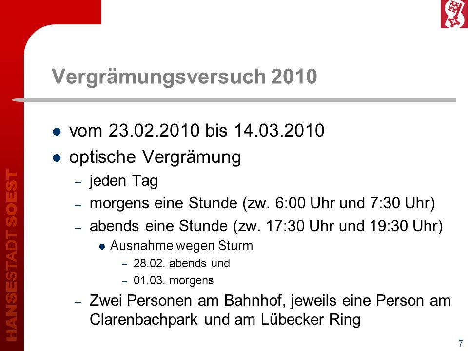 8 Ergebnisse – Entwicklung der Brutpaare - Vergrämungsgebiete Clarenbachpark134173+ 39 Bahnhof12080- 40 Lübecker Ring6285+ 23 insgesamt Soest1.3301.374+ 44 Stadtgebiet865865+/- 0 Standort20092010Differenz
