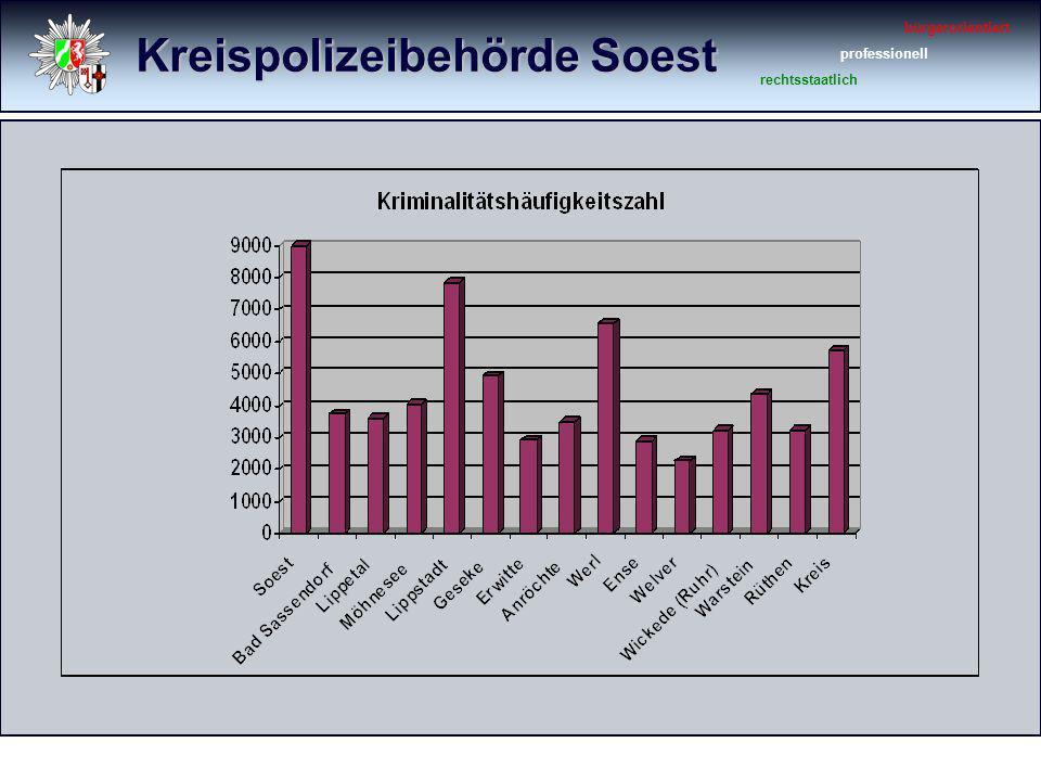 Kreispolizeibehörde Soest bürgerorientiert professionell rechtsstaatlich Sachbeschädigungen 20102009 Veränderung Sachbeschädigung (gesamt)569624- 55 (- 8,8 %) Sachbeschädigung (allgemein) 266304- 38 (- 12,5 %) Sachbeschädigung an Kfz.257267- 10 (- 3,7 %) Sachbeschädigung durch Graffiti 4653- 7 (- 13,2 %)