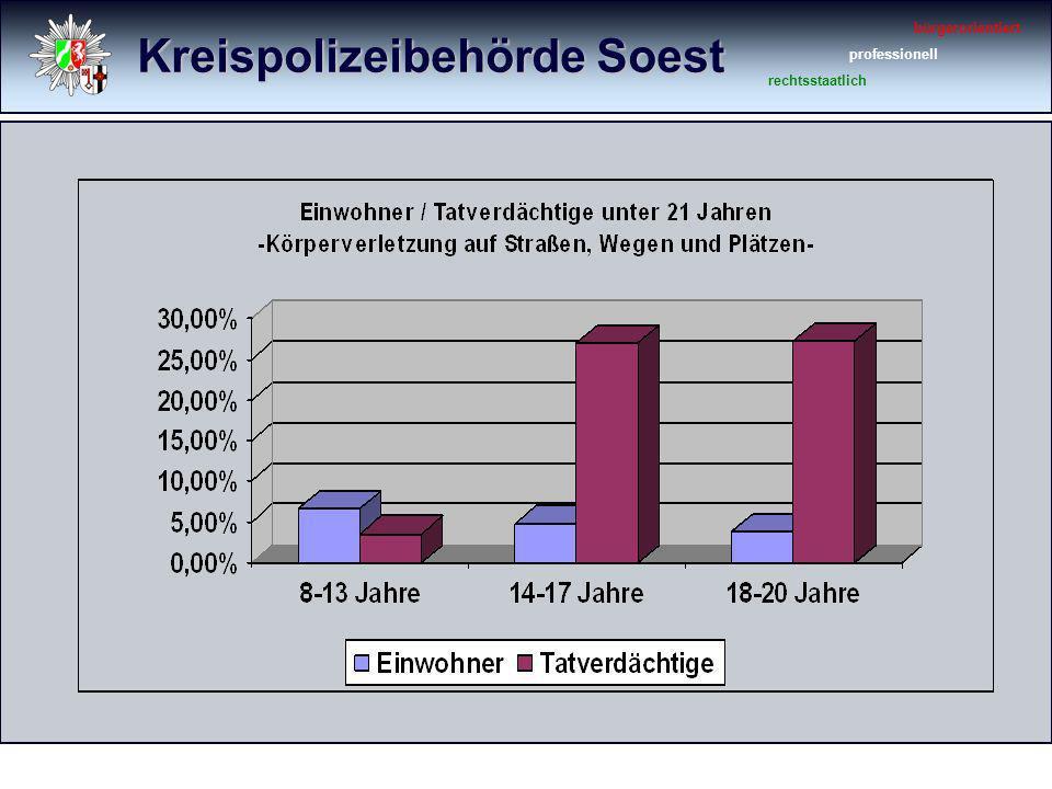 Kreispolizeibehörde Soest bürgerorientiert professionell rechtsstaatlich Brennpunkte im Stadtgebiet Soest Innenstadt (ausgewählte Straßenzüge) Bahnhofsbereich Megaparc