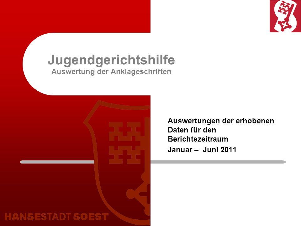 Auswertungen der Jugendgerichtshilfe Erläuterungen zur Auswertung: Ausgewertet wurde die Anzahl der eingegangenen Anklageschriften bis Juni 2011, einschl.