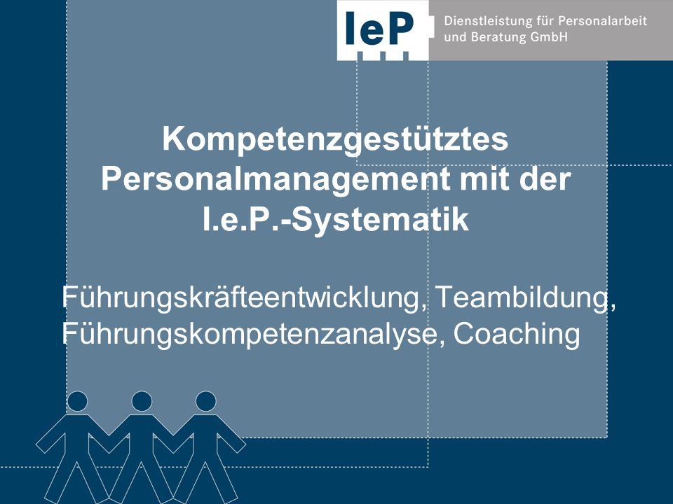 Führungskräfteentwicklung mit der I.e.P.- Systematik Ziel Die Führungskraft wird mit einem realistischen Selbstbild ausgestattet in die Lage versetzt Mitarbeiter leistungssteigernd zu entwickeln und zu führen Wie Vermittlung des kompetenzgestützten Verhaltensmodells (inkl.