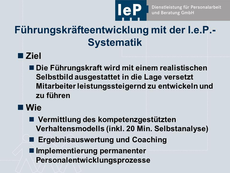 Führungskräfteentwicklung mit der I.e.P.- Systematik Ziel Die Führungskraft wird mit einem realistischen Selbstbild ausgestattet in die Lage versetzt