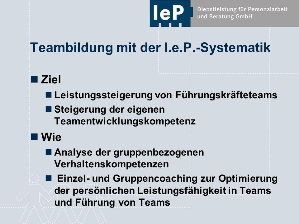 Teambildung mit der I.e.P.-Systematik Ziel Leistungssteigerung von Führungskräfteteams Steigerung der eigenen Teamentwicklungskompetenz Wie Analyse de