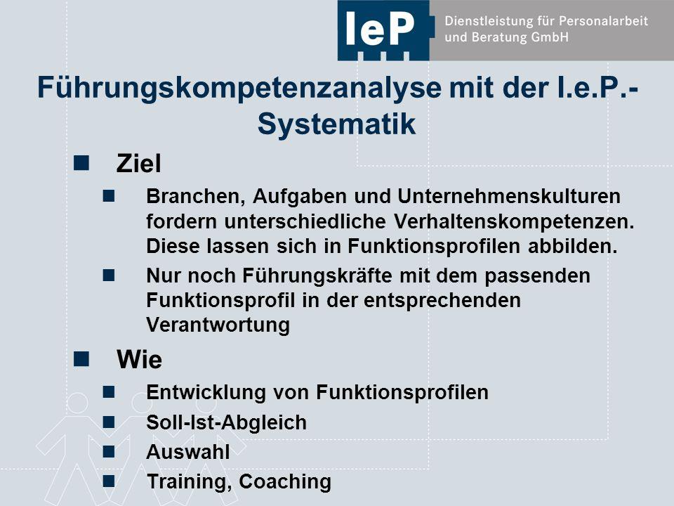 Coaching mit der I.e.P.-Systematik Ziel Steigerung der Leistungsfähigkeit durch Selbstentwicklung Coachingkompetenz der Führungskräfte entwickeln Wie Begleitung von Veränderungsprozessen in der Tagesarbeit und im Side by Side, die auf eine positive Entwicklung von Verhalten und Einstellung der Führungskraft zielen