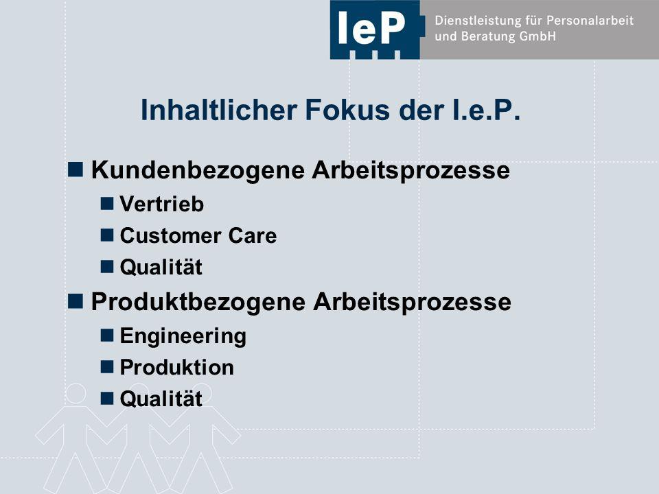 Inhaltlicher Fokus der I.e.P. Kundenbezogene Arbeitsprozesse Vertrieb Customer Care Qualität Produktbezogene Arbeitsprozesse Engineering Produktion Qu