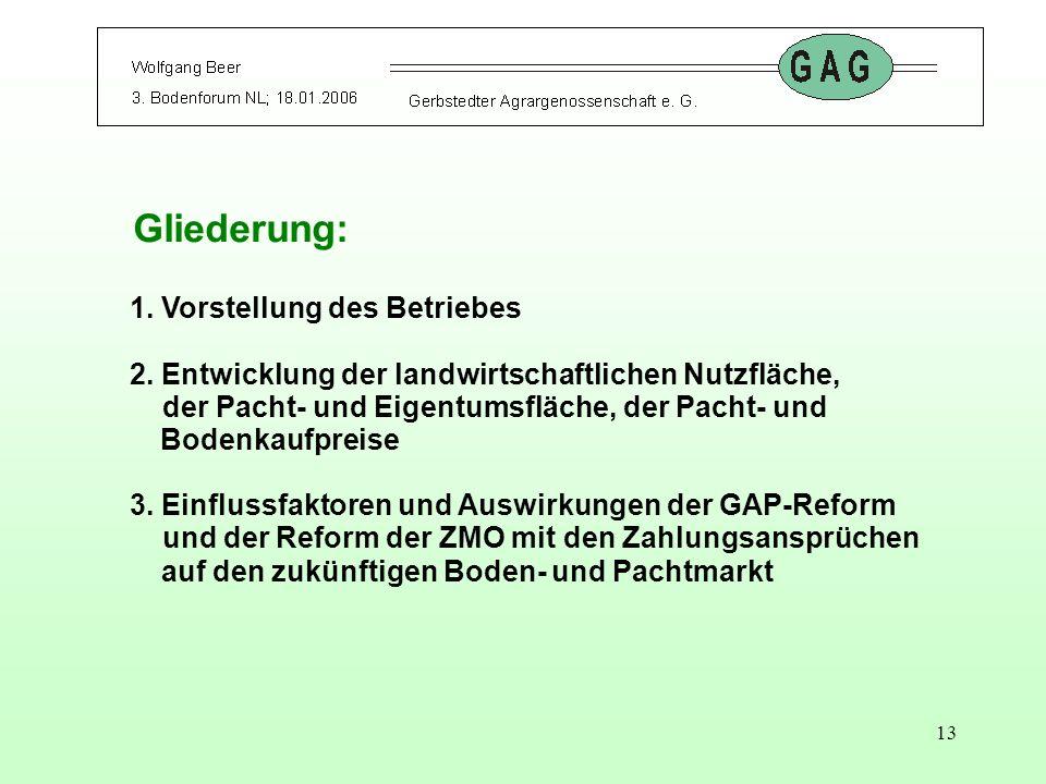 13 Gliederung: 1. Vorstellung des Betriebes 2. Entwicklung der landwirtschaftlichen Nutzfläche, der Pacht- und Eigentumsfläche, der Pacht- und Bodenka