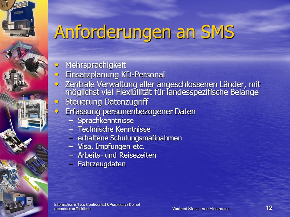 Information is Tyco Confidential & Porpietary / Do not reproduce or Distribute Winfried Storz; Tyco Electronics 12 Anforderungen an SMS Mehrsprachigke