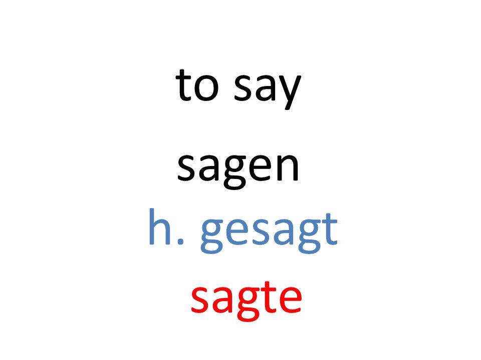 sagen h. gesagt sagte to say