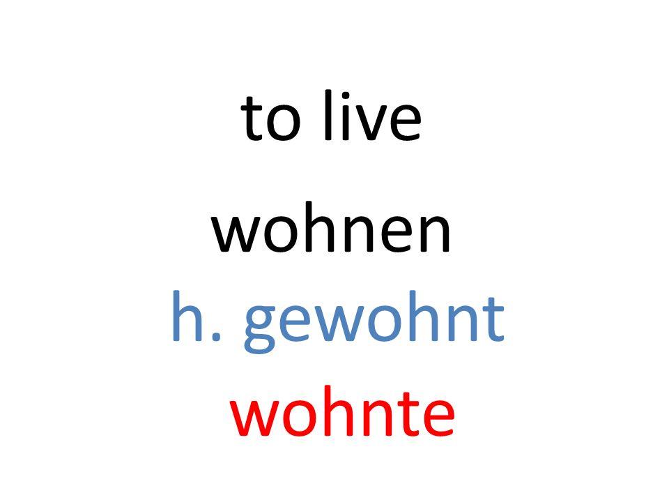 wohnen h. gewohnt wohnte to live