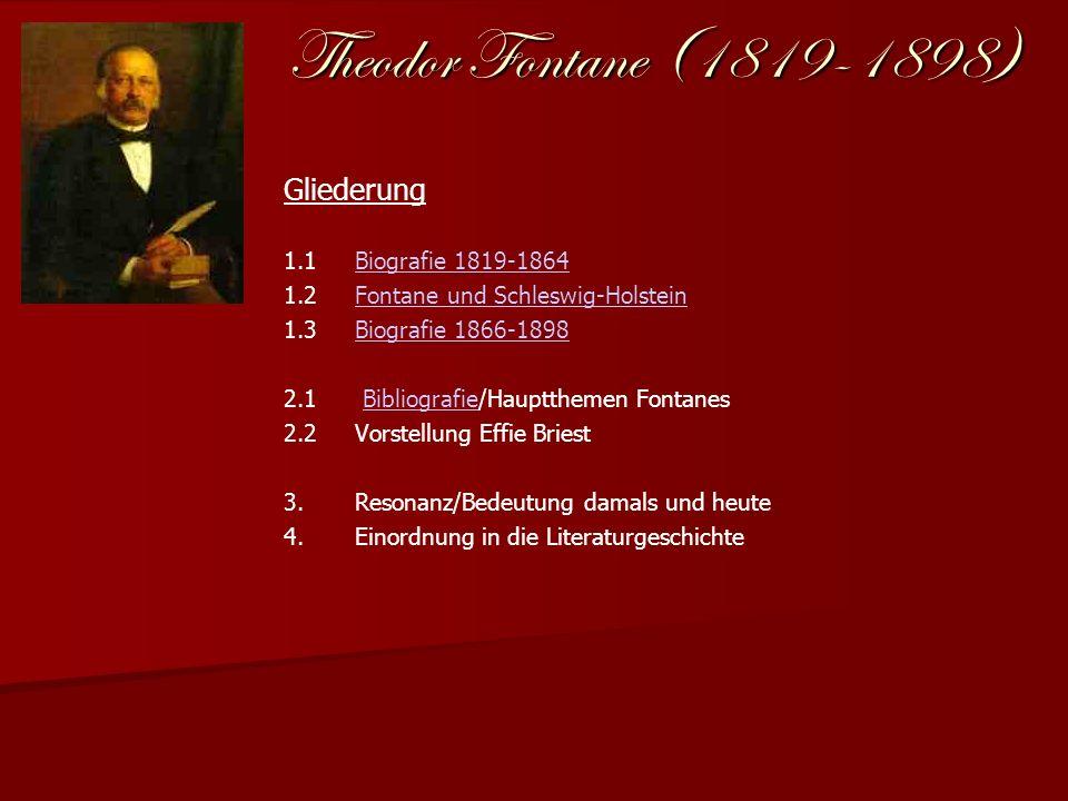 Theodor Fontane (1819-1898) Gliederung 1.1Biografie 1819-1864Biografie 1819-1864 1.2Fontane und Schleswig-HolsteinFontane und Schleswig-Holstein 1.3Bi