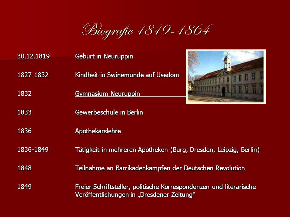 1850Heirat mit Emilie Rouanet-Kummer__________ 1851Eröffnet Schülerpension Ab 1852Mehrere Englandreisen, Korrespondenzen für Preussische Zeitungen 1853Debüt als Literaturkritiker und -historiker 1855-1859F.