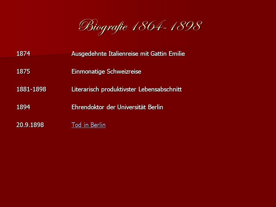 Biografie 1864-1898 1874 Ausgedehnte Italienreise mit Gattin Emilie 1875Einmonatige Schweizreise 1881-1898Literarisch produktivster Lebensabschnitt 1894Ehrendoktor der Universität Berlin 20.9.1898Tod in Berlin Tod in BerlinTod in Berlin
