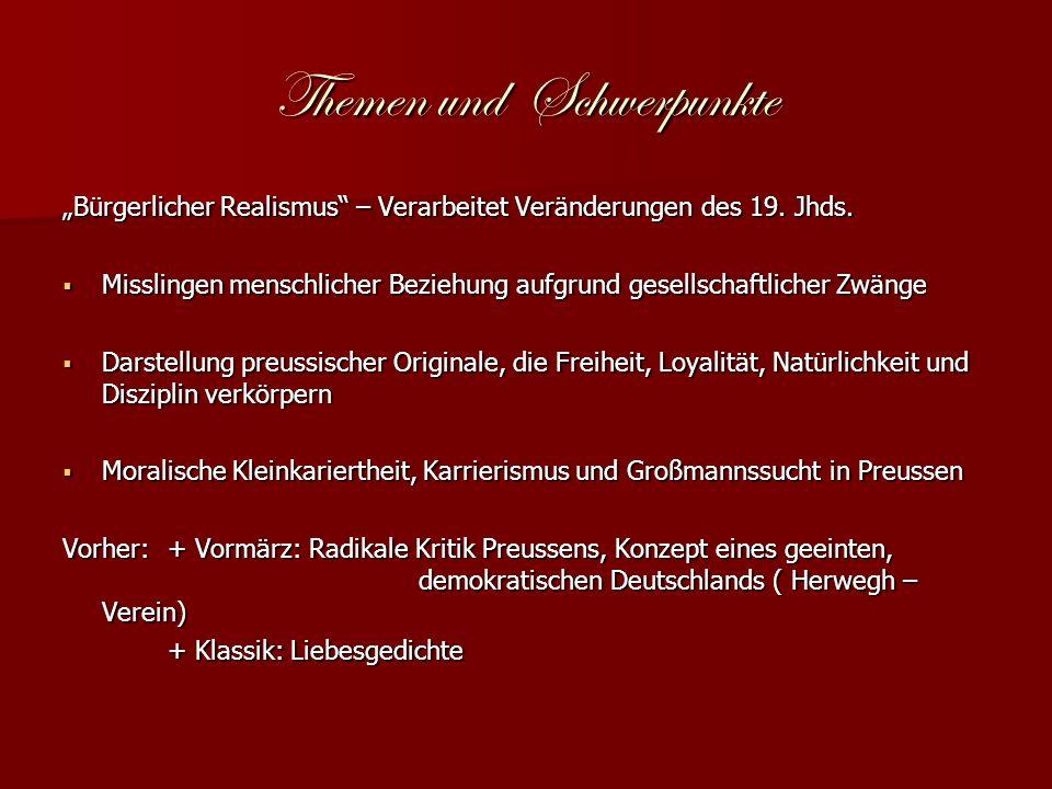 Themen und Schwerpunkte Bürgerlicher Realismus – Verarbeitet Veränderungen des 19.