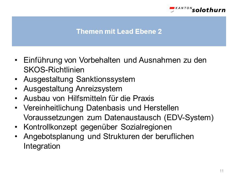 Themen mit Lead Ebene 2 11 Einführung von Vorbehalten und Ausnahmen zu den SKOS-Richtlinien Ausgestaltung Sanktionssystem Ausgestaltung Anreizsystem A