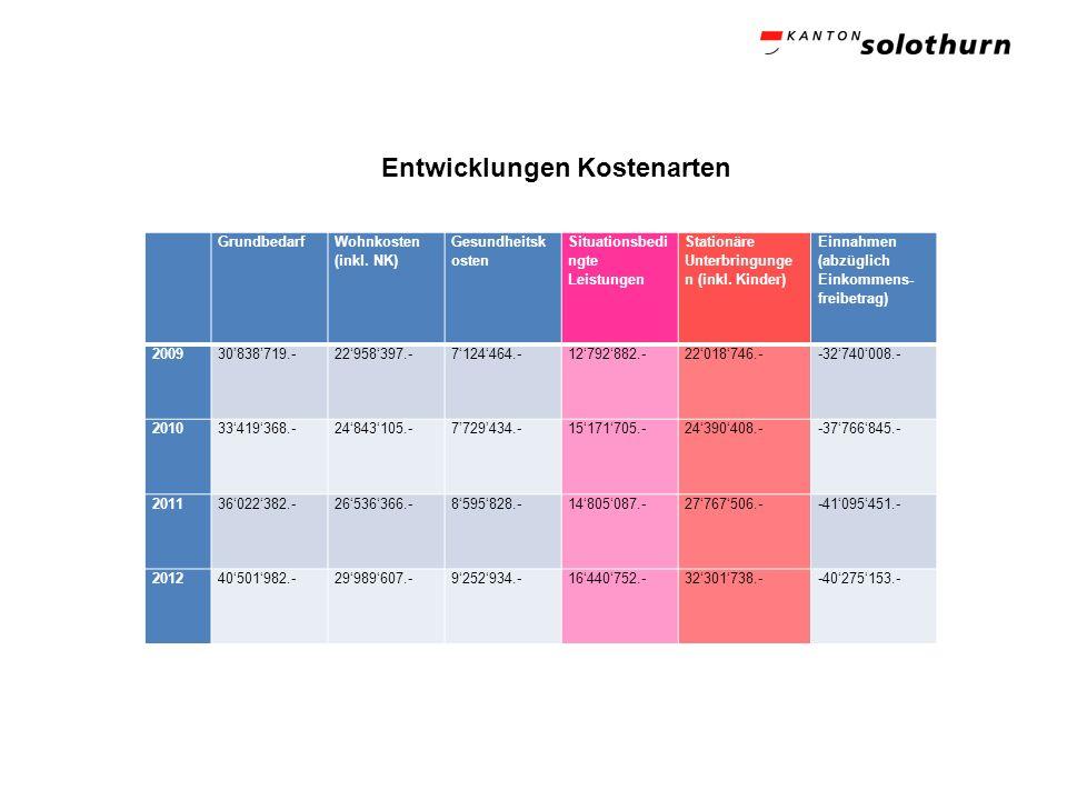Entwicklungen Kostenarten Grundbedarf Wohnkosten (inkl. NK) Gesundheitsk osten Situationsbedi ngte Leistungen Stationäre Unterbringunge n (inkl. Kinde