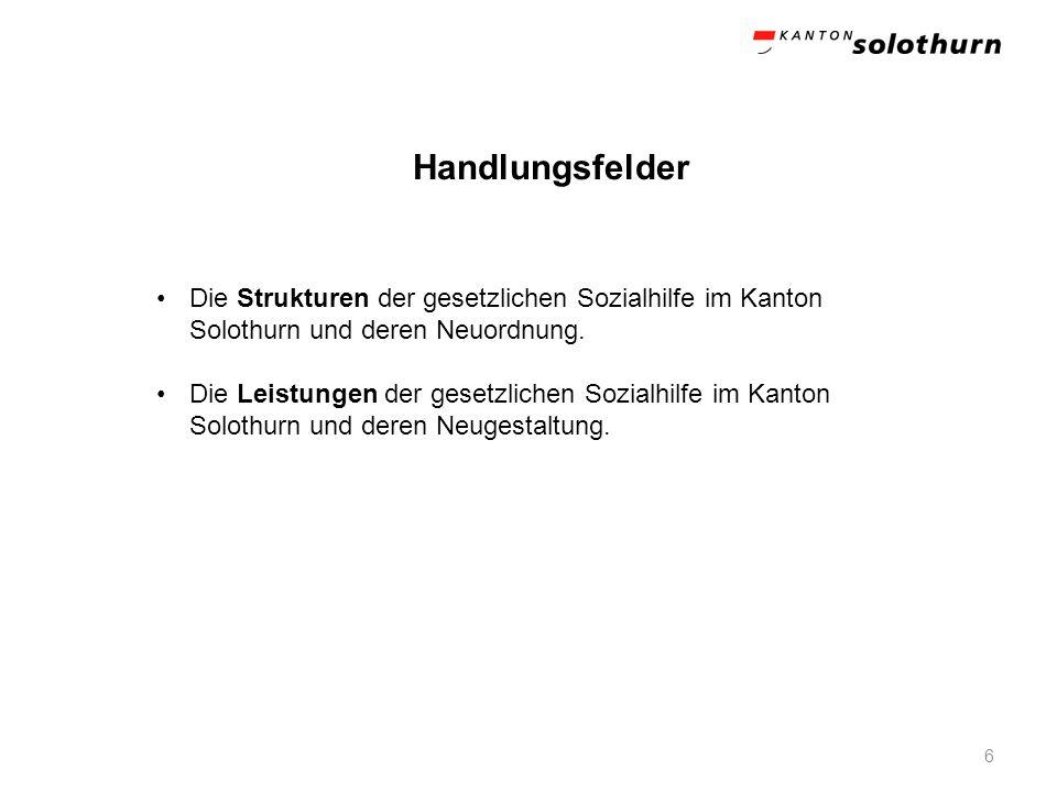6 Die Strukturen der gesetzlichen Sozialhilfe im Kanton Solothurn und deren Neuordnung. Die Leistungen der gesetzlichen Sozialhilfe im Kanton Solothur