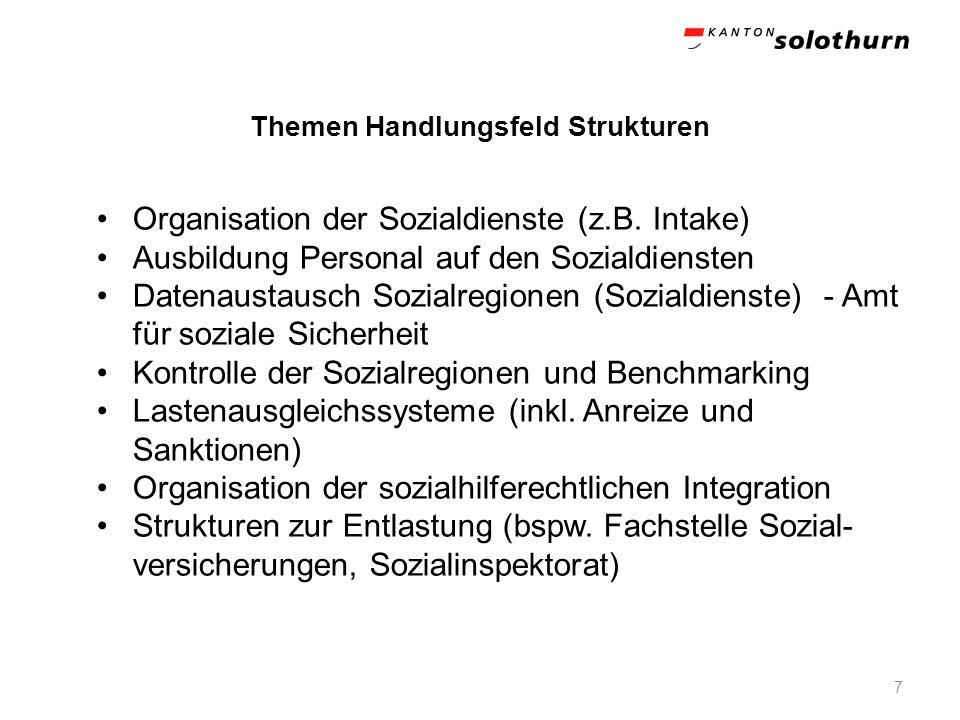 Themen Handlungsfeld Strukturen 7 Organisation der Sozialdienste (z.B. Intake) Ausbildung Personal auf den Sozialdiensten Datenaustausch Sozialregione