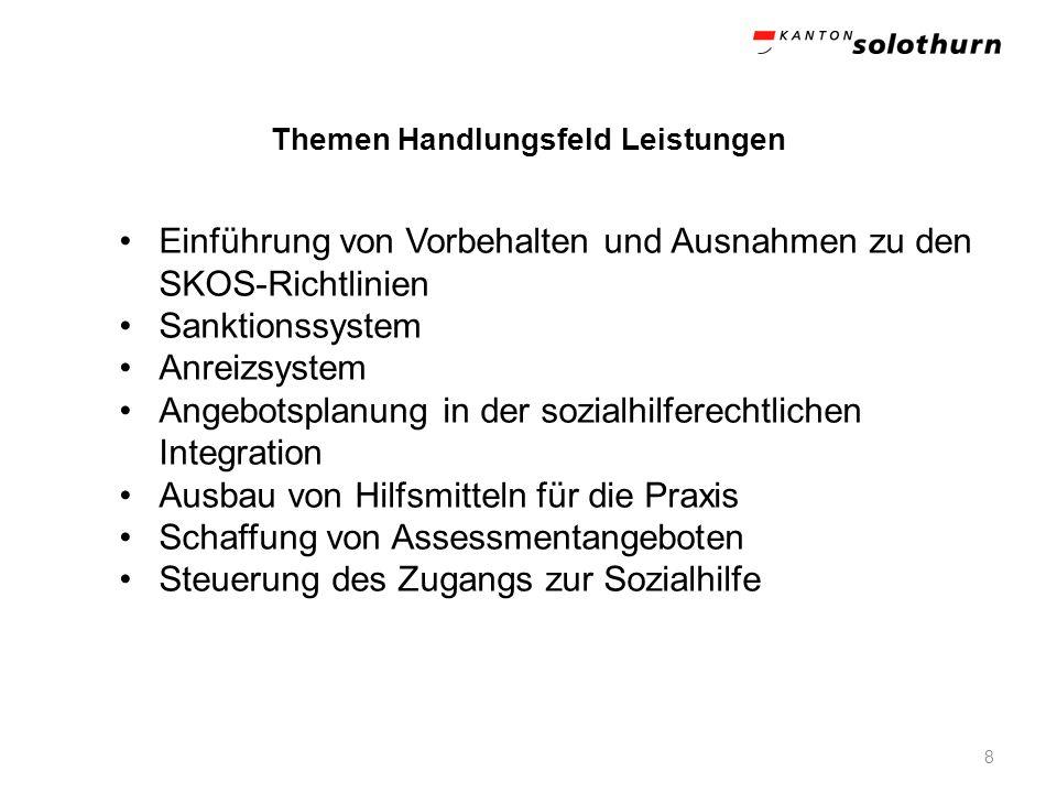Themen Handlungsfeld Leistungen 8 Einführung von Vorbehalten und Ausnahmen zu den SKOS-Richtlinien Sanktionssystem Anreizsystem Angebotsplanung in der