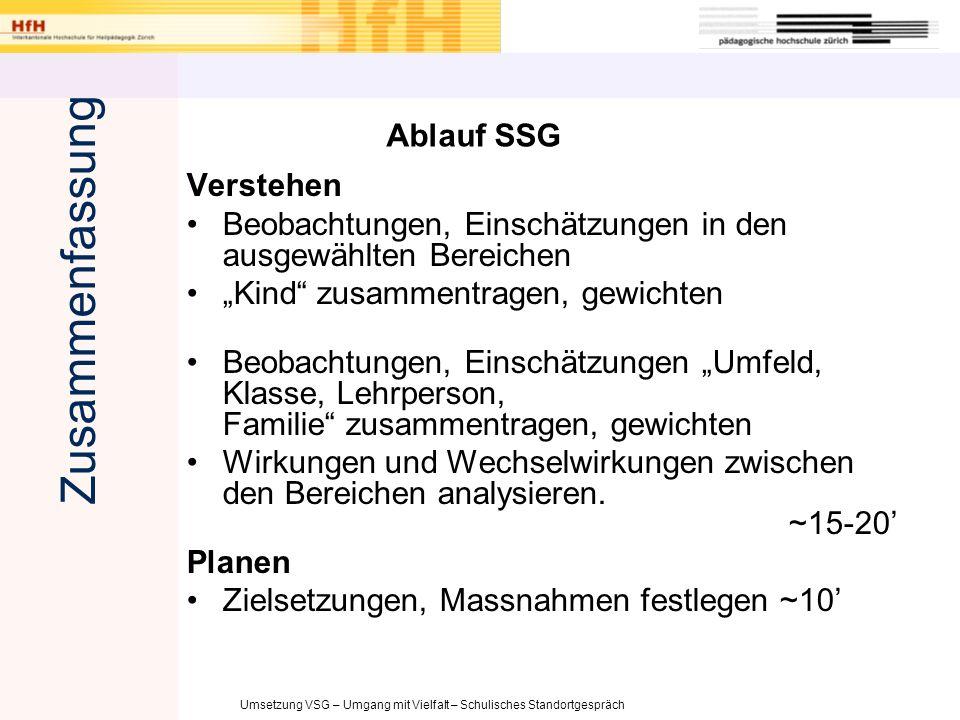 Umsetzung VSG – Umgang mit Vielfalt – Schulisches Standortgespräch Ablauf SSG Verstehen Beobachtungen, Einschätzungen in den ausgewählten Bereichen Ki