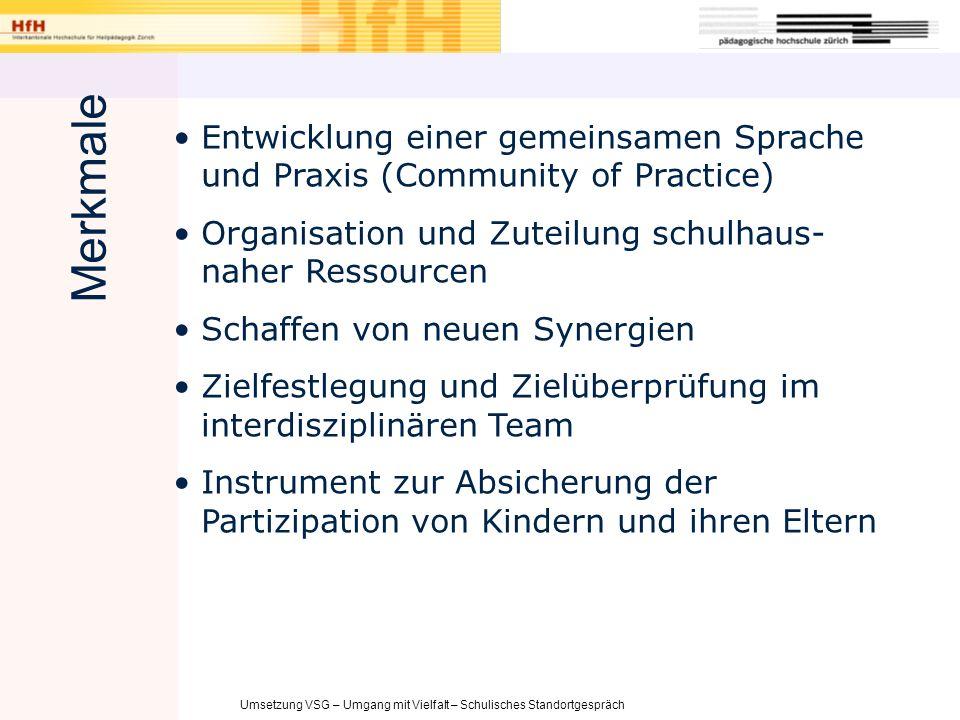 Umsetzung VSG – Umgang mit Vielfalt – Schulisches Standortgespräch Entwicklung einer gemeinsamen Sprache und Praxis (Community of Practice) Organisati
