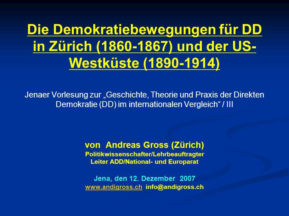 Die DD war erst in der CH und später in den USA ein Werk von oppositionellen Volksbewegungen Alles durch das Volk, mit dem Volk und für das Volk Der Schweiz gelang 1848 der Aufbau eine der ersten repräsentativen Demokratien mit oblig Verfref Die Schöpfer der modernen Schweiz waren tendenziell liberal und elitär Viele aus dem Volk fühlten sich durch sie schlecht verteten Deshalb verlangten sie nach dem letzten Wort in wesentlichen Fragen Überall dort, wo BügerInnen die DD erkämpften, sind die Verfahren bürgerfreundlich ausgestaltet