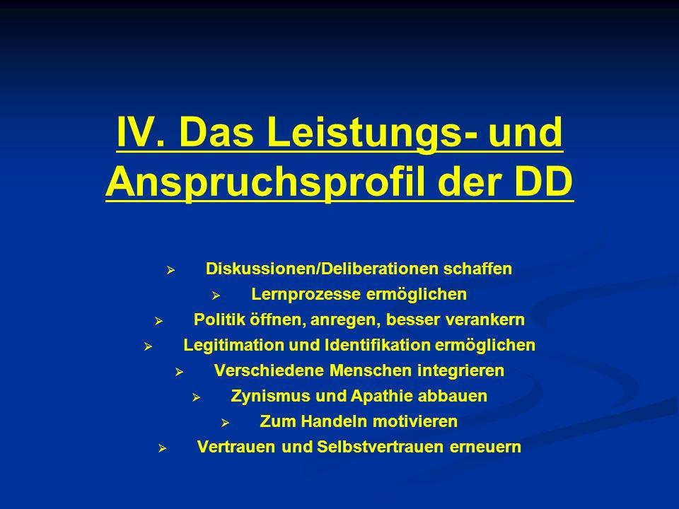 IV. Das Leistungs- und Anspruchsprofil der DD Diskussionen/Deliberationen schaffen Lernprozesse ermöglichen Politik öffnen, anregen, besser verankern