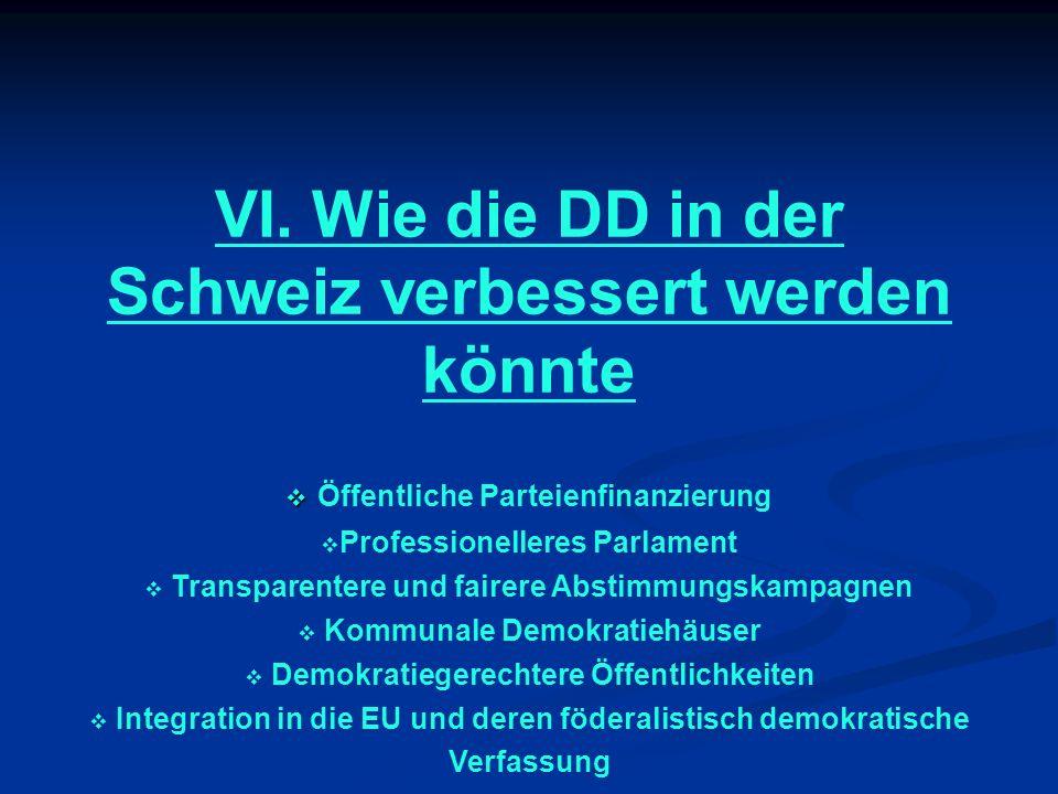 VI. Wie die DD in der Schweiz verbessert werden könnte Öffentliche Parteienfinanzierung Professionelleres Parlament Transparentere und fairere Abstimm