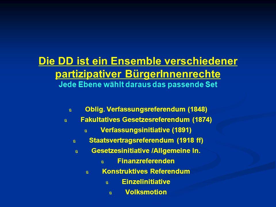 Die DD ist ein Ensemble verschiedener partizipativer BürgerInnenrechte Jede Ebene wählt daraus das passende Set ü ü Oblig.