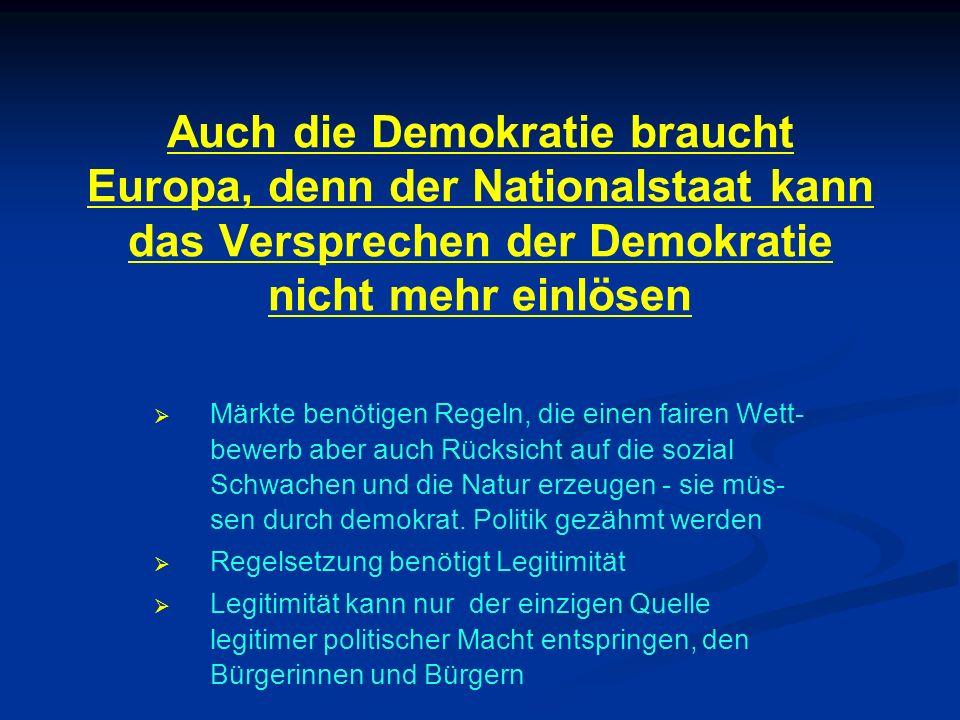 Auch die Demokratie braucht Europa, denn der Nationalstaat kann das Versprechen der Demokratie nicht mehr einlösen Märkte benötigen Regeln, die einen