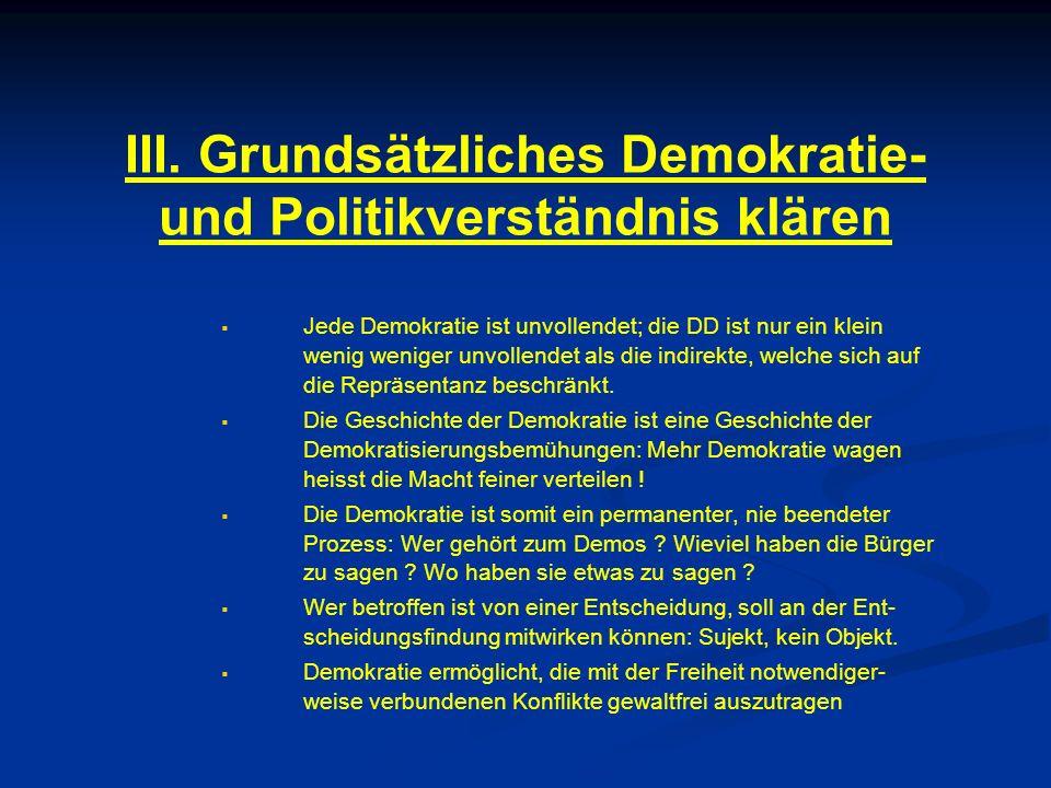 IV.Begriff der Direkten Demokratie (DD) klären .