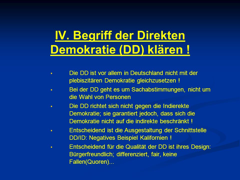 IV. Begriff der Direkten Demokratie (DD) klären .