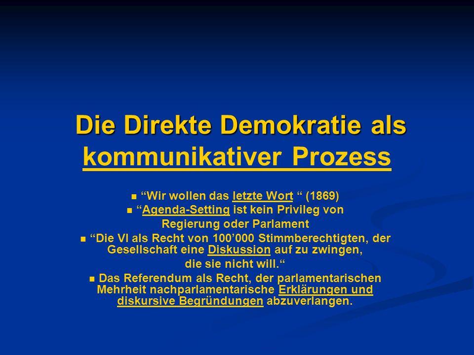 Die Direkte Demokratie als Die Direkte Demokratie als kommunikativer Prozess Wir wollen das letzte Wort (1869) Agenda-Setting ist kein Privileg von Re