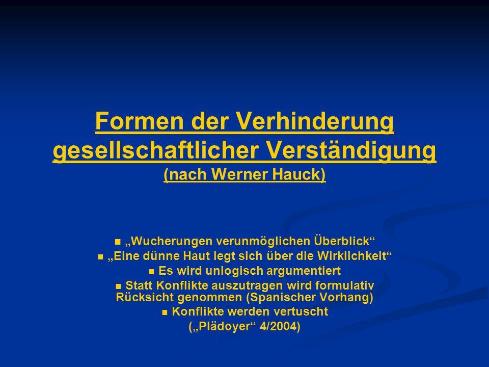 Formen der Verhinderung gesellschaftlicher Verständigung (nach Werner Hauck) Wucherungen verunmöglichen Überblick Eine dünne Haut legt sich über die W