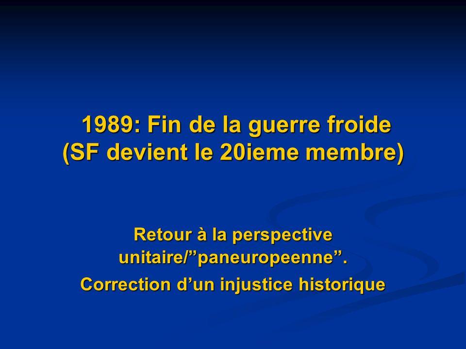 1989: Fin de la guerre froide (SF devient le 20ieme membre) 1989: Fin de la guerre froide (SF devient le 20ieme membre) Retour à la perspective unitai