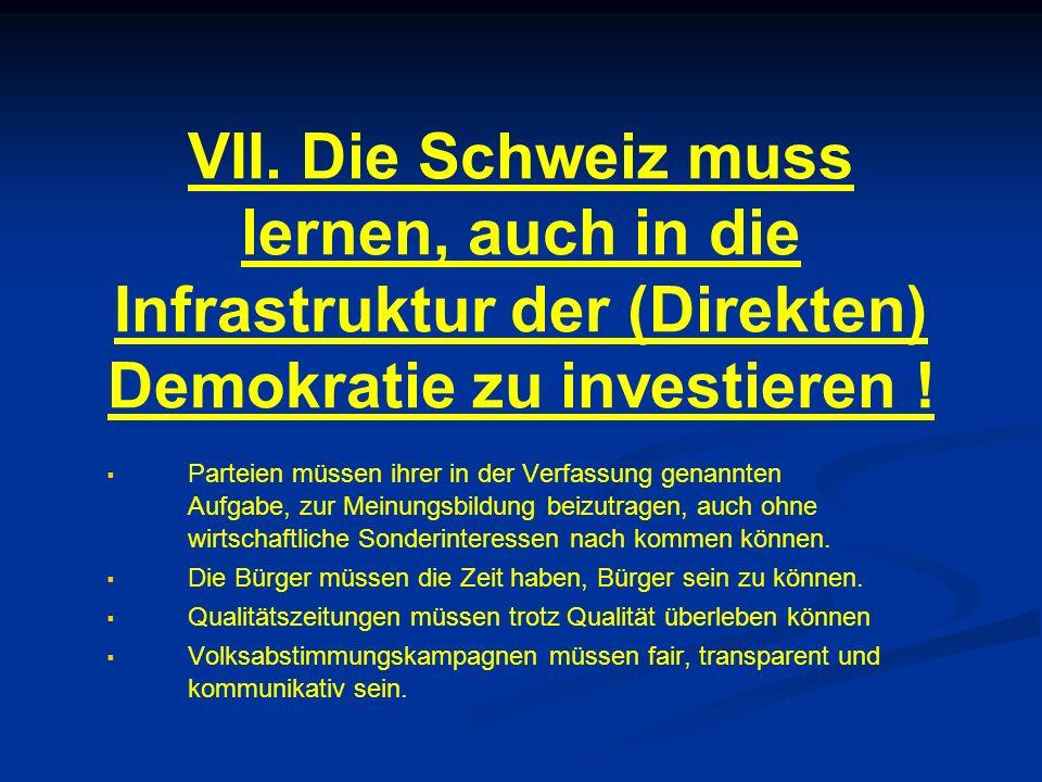 VII. Die Schweiz muss lernen, auch in die Infrastruktur der (Direkten) Demokratie zu investieren .