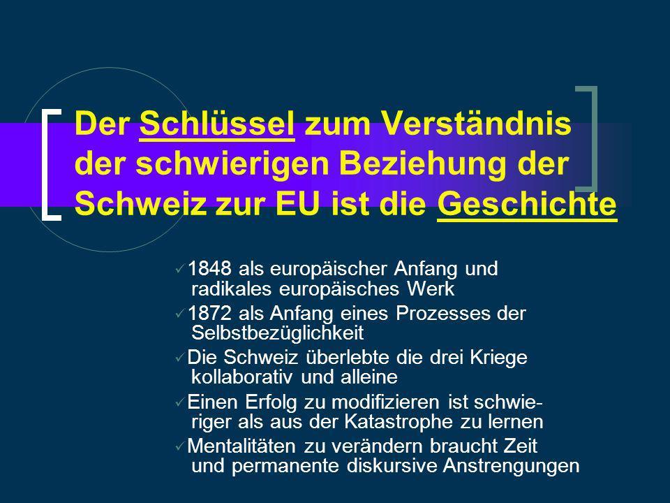 Der Schlüssel zum Verständnis der schwierigen Beziehung der Schweiz zur EU ist die Geschichte 1848 als europäischer Anfang und radikales europäisches Werk 1872 als Anfang eines Prozesses der Selbstbezüglichkeit Die Schweiz überlebte die drei Kriege kollaborativ und alleine Einen Erfolg zu modifizieren ist schwie- riger als aus der Katastrophe zu lernen Mentalitäten zu verändern braucht Zeit und permanente diskursive Anstrengungen