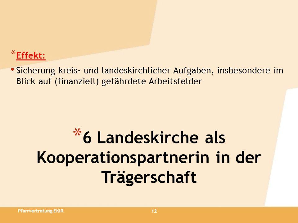 12 * 6 Landeskirche als Kooperationspartnerin in der Trägerschaft * Effekt: Sicherung kreis- und landeskirchlicher Aufgaben, insbesondere im Blick auf