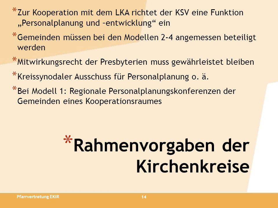 14 * Rahmenvorgaben der Kirchenkreise * Zur Kooperation mit dem LKA richtet der KSV eine Funktion Personalplanung und –entwicklung ein * Gemeinden müs