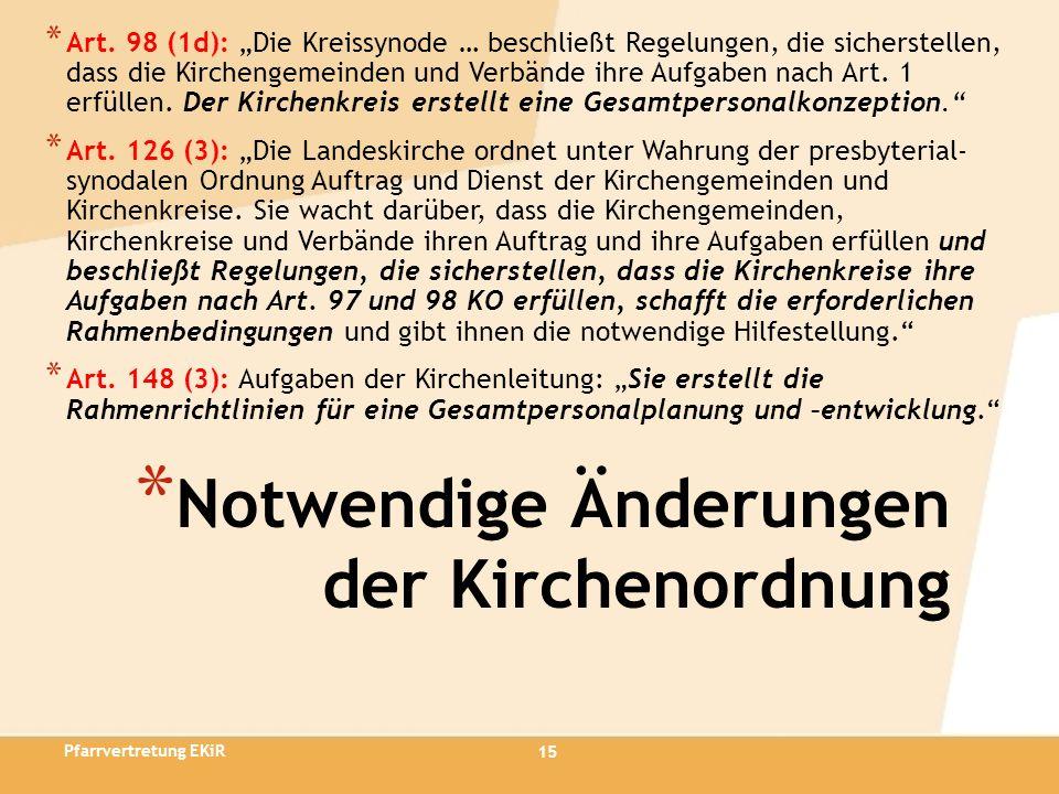 15 * Notwendige Änderungen der Kirchenordnung * Art. 98 (1d): Die Kreissynode … beschließt Regelungen, die sicherstellen, dass die Kirchengemeinden un