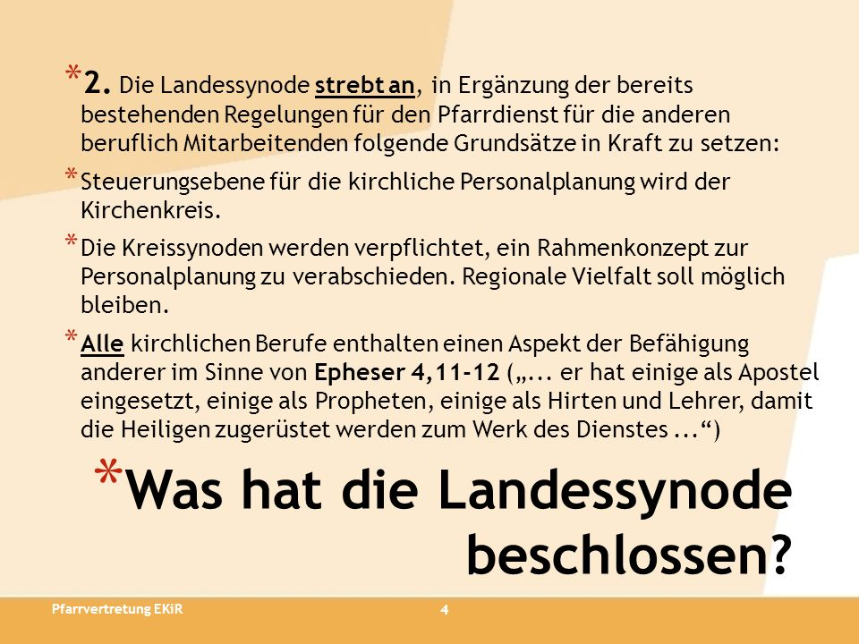 15 * Notwendige Änderungen der Kirchenordnung * Art.