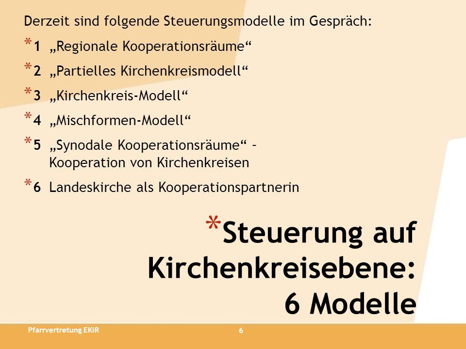 6 * Steuerung auf Kirchenkreisebene: 6 Modelle Derzeit sind folgende Steuerungsmodelle im Gespräch: * 1 Regionale Kooperationsräume * 2 Partielles Kir