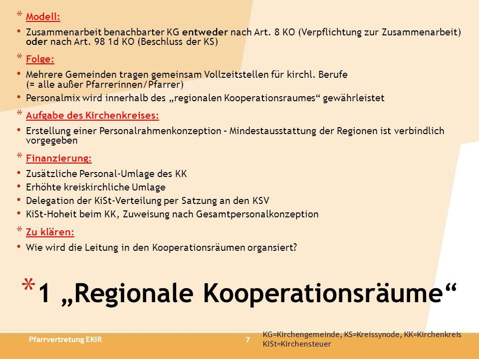 7 * 1 Regionale Kooperationsräume * Modell: Zusammenarbeit benachbarter KG entweder nach Art. 8 KO (Verpflichtung zur Zusammenarbeit) oder nach Art. 9