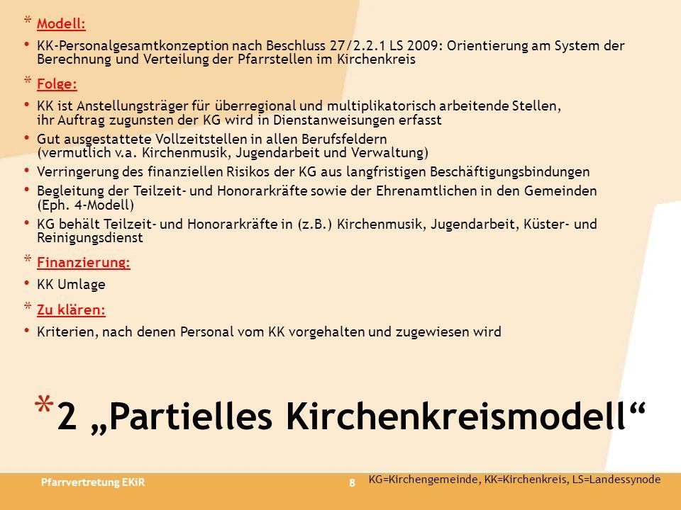8 * 2 Partielles Kirchenkreismodell * Modell: KK-Personalgesamtkonzeption nach Beschluss 27/2.2.1 LS 2009: Orientierung am System der Berechnung und V