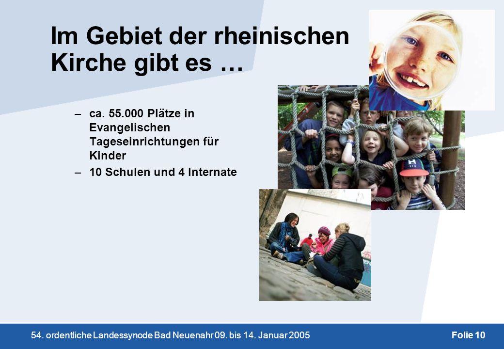 54. ordentliche Landessynode Bad Neuenahr 09. bis 14. Januar 2005Folie 10 Im Gebiet der rheinischen Kirche gibt es … –ca. 55.000 Plätze in Evangelisch