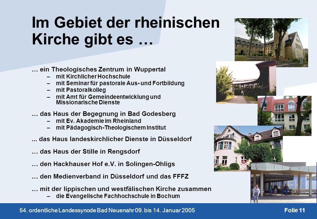 54. ordentliche Landessynode Bad Neuenahr 09. bis 14. Januar 2005Folie 11 Im Gebiet der rheinischen Kirche gibt es … … ein Theologisches Zentrum in Wu