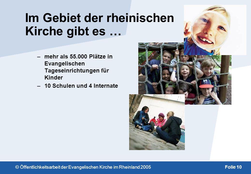 © Öffentlichkeitsarbeit der Evangelischen Kirche im Rheinland 2005Folie 9 Die rheinische Kirche … … in Zahlen: –ca. drei Millionen Mitglieder –44 Kirc