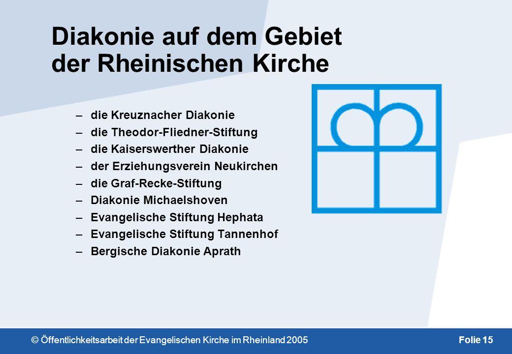 © Öffentlichkeitsarbeit der Evangelischen Kirche im Rheinland 2005Folie 14 Im Gebiet der Evangelischen Kirche im Rheinland ist –der Sitz der Kindernot