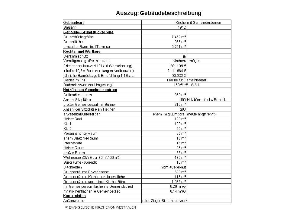 Auszug: Gebäudebeschreibung EVANGELISCHE KIRCHE VON WESTFALEN
