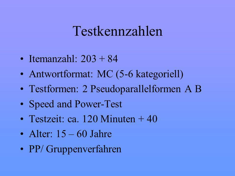Testkennzahlen Itemanzahl: 203 + 84 Antwortformat: MC (5-6 kategoriell) Testformen: 2 Pseudoparallelformen A B Speed and Power-Test Testzeit: ca.