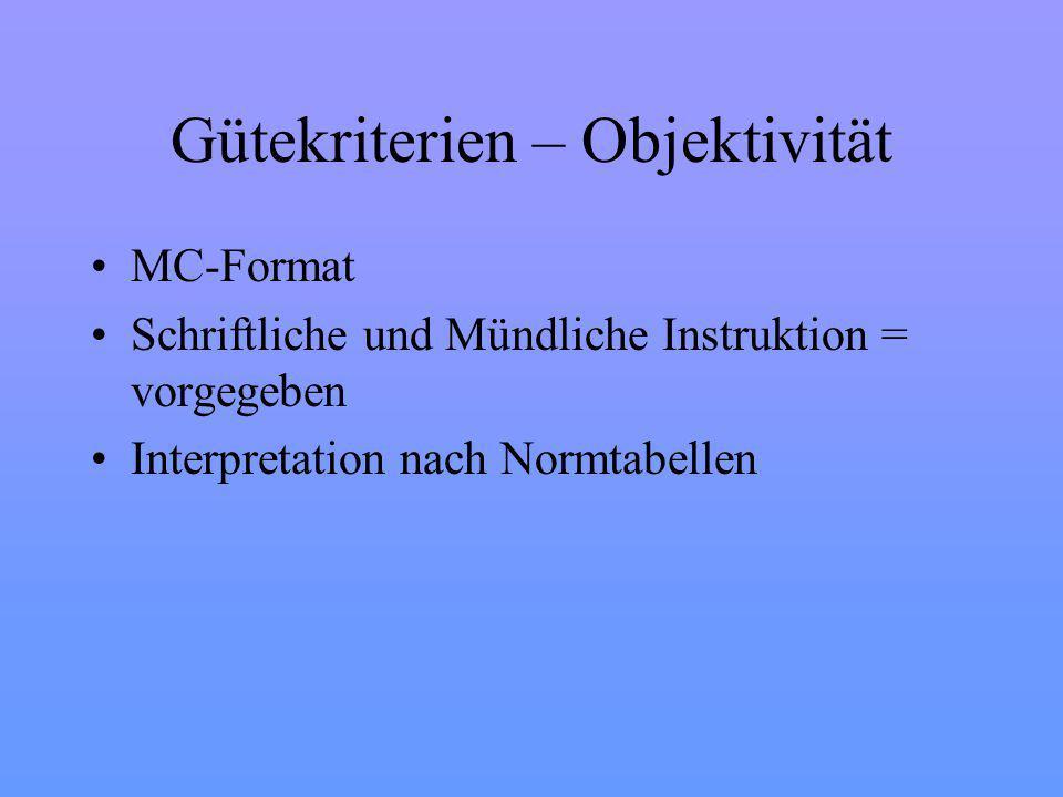 Gütekriterien – Objektivität MC-Format Schriftliche und Mündliche Instruktion = vorgegeben Interpretation nach Normtabellen